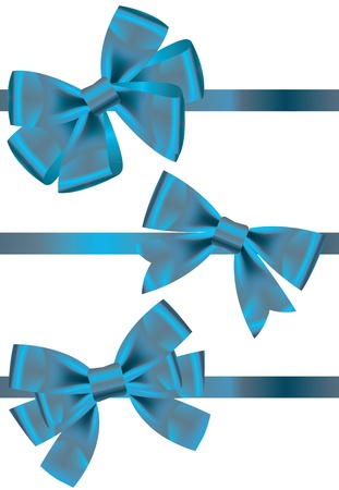 Vector set of different types of blue satin ribbons with bows