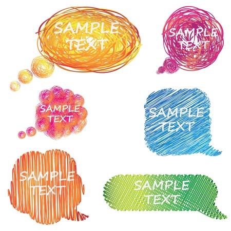 burbujas de pensamiento: discurso colorido dibujado mano y pensamiento burbujas