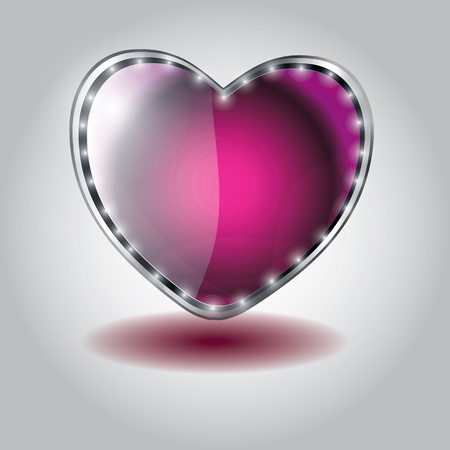 pink heart shaped glass button. vector illustration on valentine`s day Vector