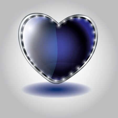 blue heart shaped glass button. vector illustration on valentine`s day Vector