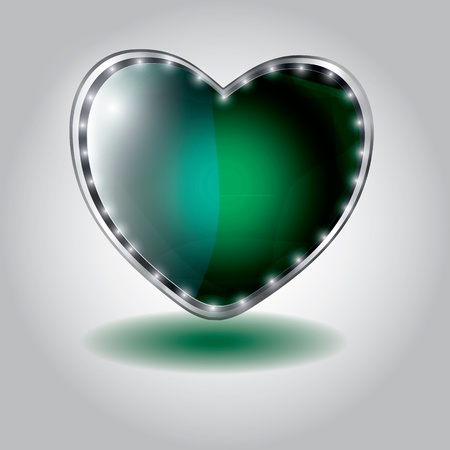 green heart shaped glass button. vector illustration on valentine`s day Vector