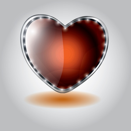orange heart shaped glass button. vector illustration on valentine`s day Vector