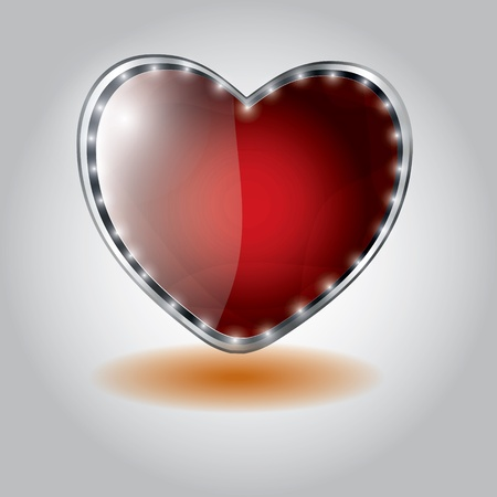 red heart shaped glass button. vector illustration on valentine`s day Vector
