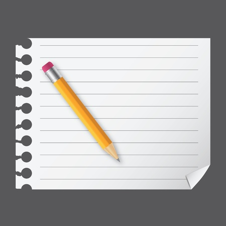 Yellow wooden pencil on a blank notepad vector illustration on business theme Vector