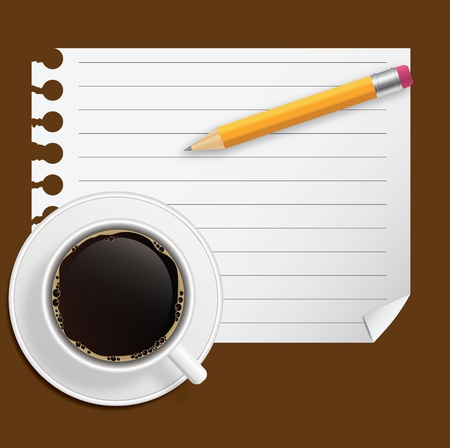 Blank book with coffee and photo frame vector illustration on business theme Vector