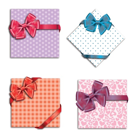 Gift cards with ribbon. Vector background Stock Vector - 12303244