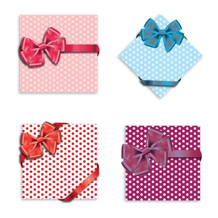 Gift cards with ribbon. Vector background Stock Vector - 12303240