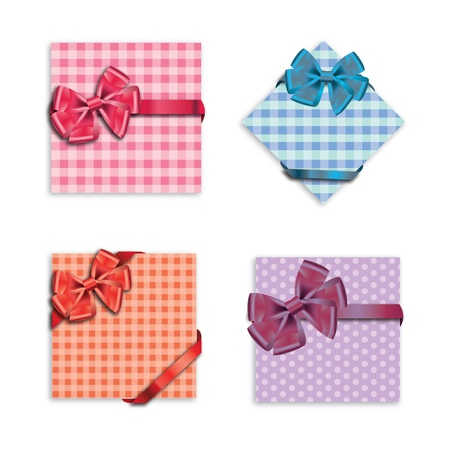 Gift cards with ribbon. Vector background Stock Vector - 12303242