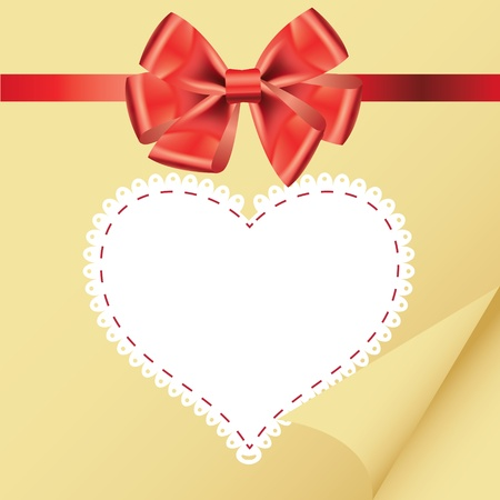 beige vintage heart frame with glossy red bow Vector