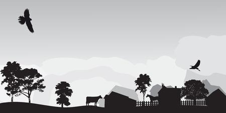 grijs landschap met bomen en dorp