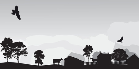 paisaje gris, con árboles y el pueblo