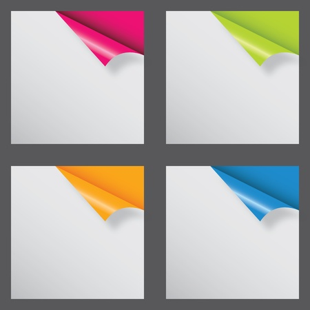 blank tag: Papers with different corner and place for your text. vector illustration