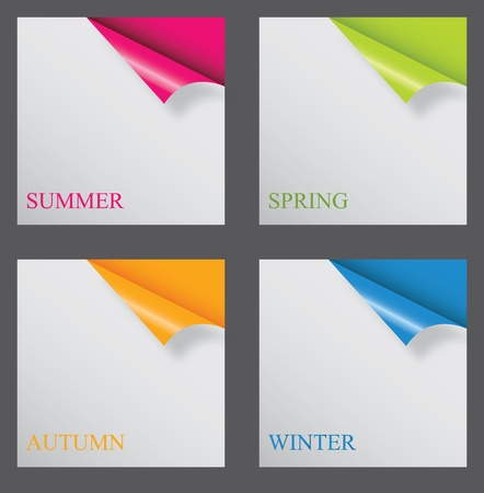 new corner: Papers with different corner and place for your text. vector illustration