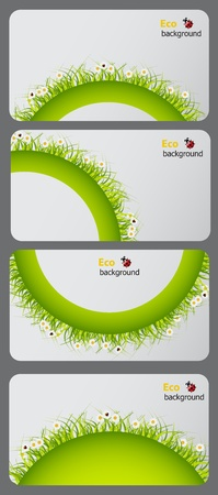 computer health: Set of nature gift cards vector illustration Illustration