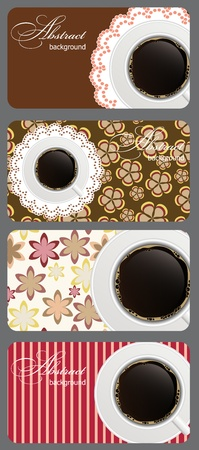 coffe: Set of nature coffee gift cards vector illustration