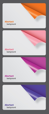 Set of gift cards with rolled corners. vector illustration  Vector
