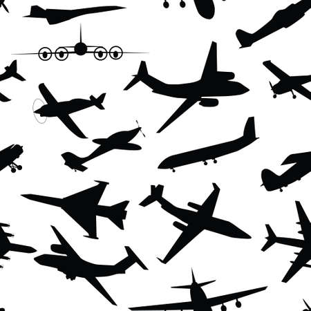 Aircraft, airplane, plane flying vector seamless travel transport background . Stock Vector - 12303621
