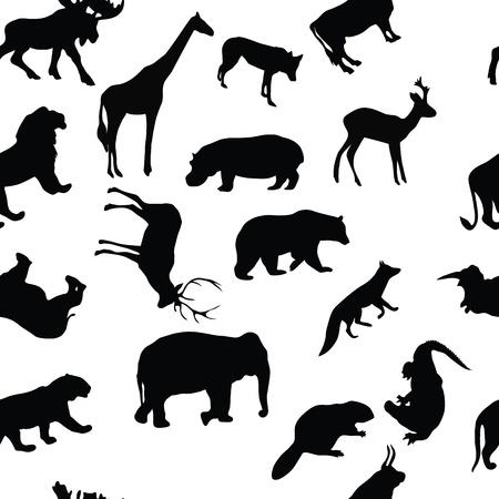 wild animals seamless pattern background Vector