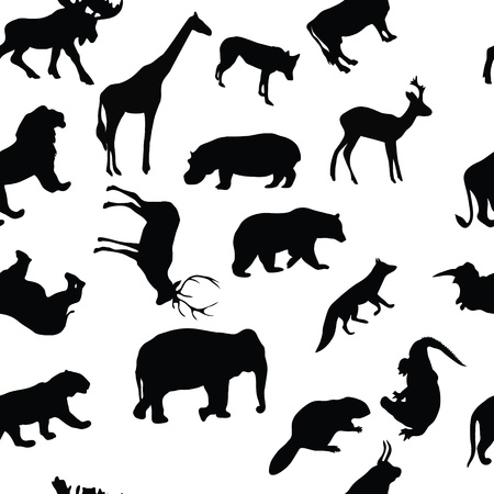 roe deer: wild animals seamless pattern background