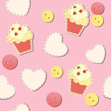 seamless pattern with cute cupcakes, vector illustration Vector