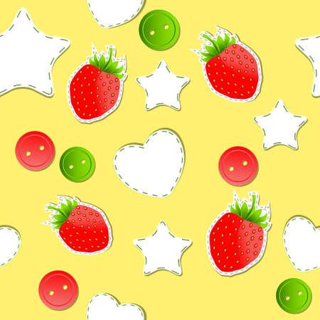 cute wallpaper: Bright fresas lindo papel tapiz sin fisuras patr�n Vectores
