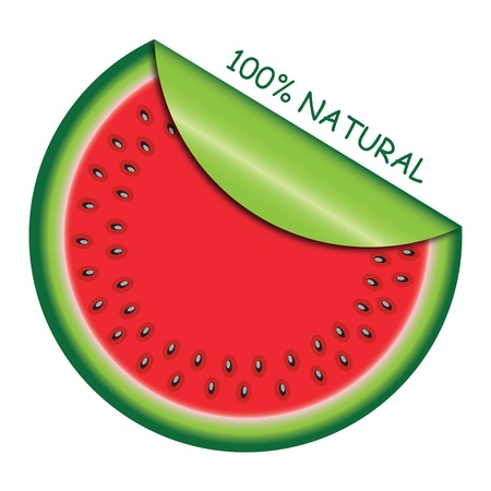 watermelon slice: Icon watermelon slice with  with rolled corner. Vector illustration.
