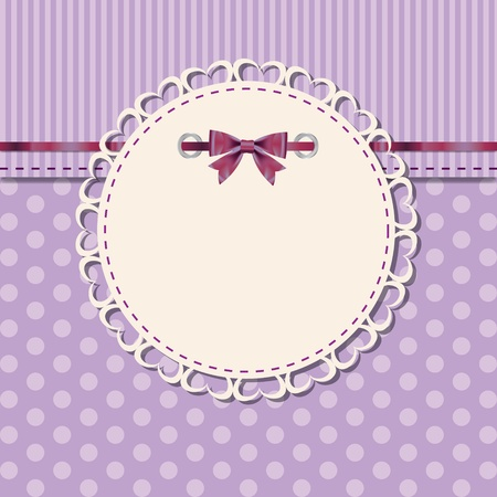 violet red: vintage frame with bow vector illustration