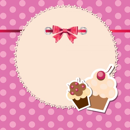vintage frame wit bow and cute cupcakes vector illustration Stock Vector - 12487796