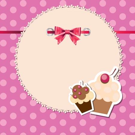 vintagel: vintage frame wit bow and cute cupcakes vector illustration Illustration