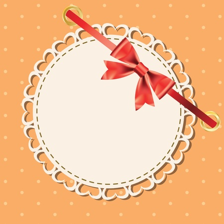 Vector greeting card with frame and bow  Space for your text or picture Stock Vector - 12487808