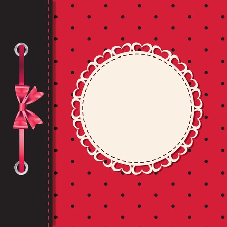 picture card: Vector greeting card or cover with bow  Space for your text or picture  Illustration