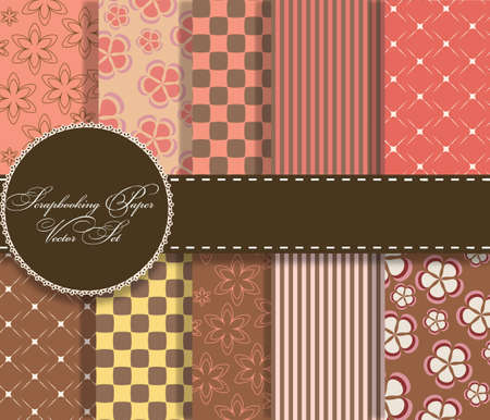 compendium: set of beaautiful vector paper for scrapbook