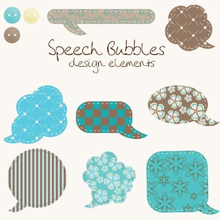 un conjunto de globos de texto diferentes, elementos de diseño Ilustración de vector