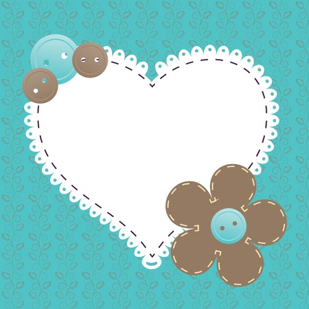 craft ornament: Vector vintage frame with love heart beautiful illustration can be used for scrapbooking