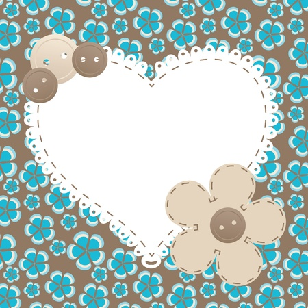 scrapbooking paper: Vector vintage frame with love heart beautiful illustration can be used for scrapbooking
