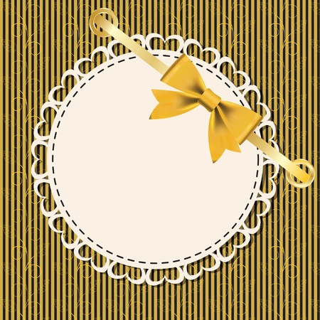 Vintage gold frame on floral  background  Vector illustration  Vector