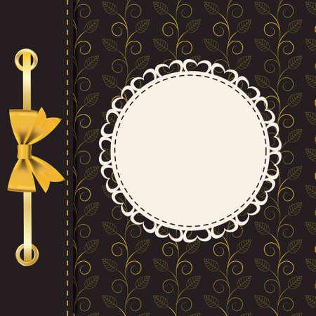 Vintage gold frame on floral  background  Vector illustration  Vector
