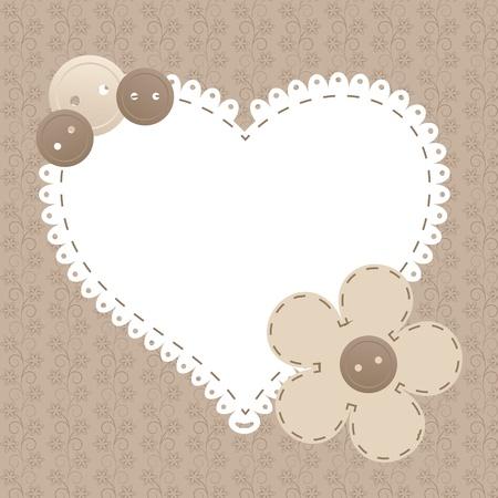 Vector vintage frame met liefde hart mooie illustratie kan worden gebruikt voor scrapbooking