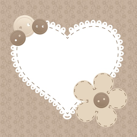 craft background: Vector vintage frame with love heart beautiful illustration can be used for scrapbooking