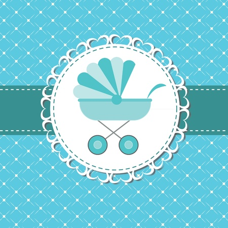 new born: Vector illustration of pink baby carriage for newborn boy