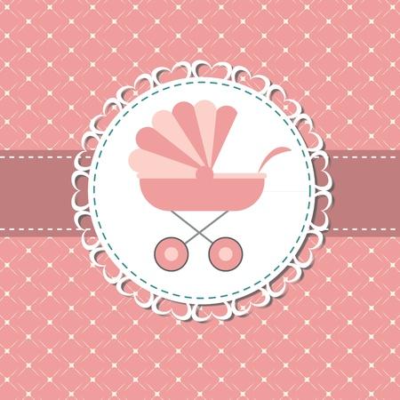 Ilustración vectorial de cochecito de bebé de color rosa para niña recién nacida