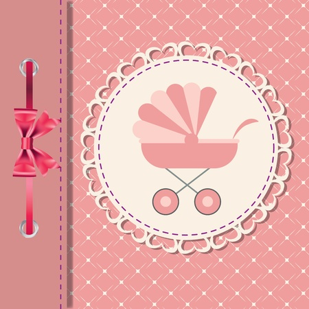 Vector illustration of pink baby carriage for newborn girl Vector
