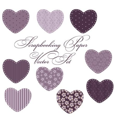 scrap booking: set of different hearts, design elements