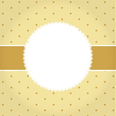 polka dot: Vector greeting golden card or cover  Space for your text or picture