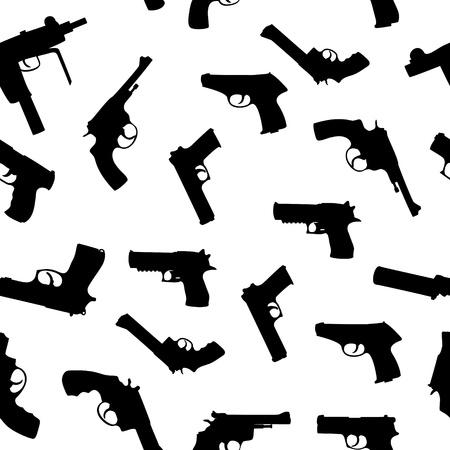 shot gun: Vector guns set seamless pattern