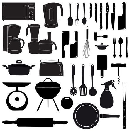 ilustración vectorial de utensilios de cocina para cocinar