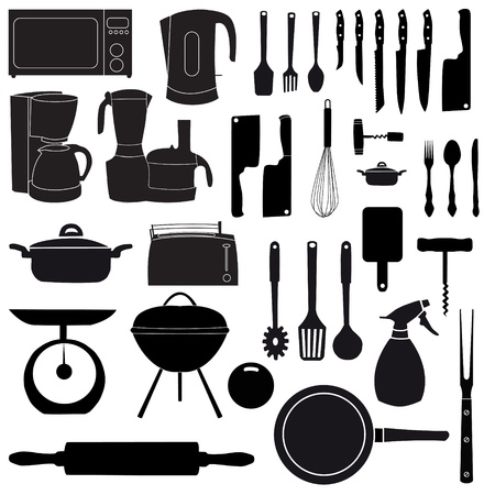 black appliances: vector illustration of kitchen tools for cooking