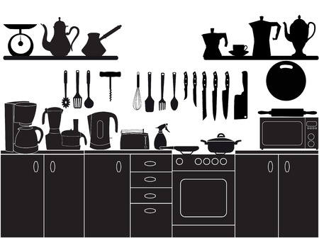 kitchen illustration: vector illustration of kitchen tools for cooking