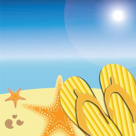 sandalen en zeesterren op het strand natuurgebied zomer vector achtergrond