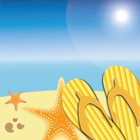 starfish beach: sandals and starfish at beach nature summer vector background
